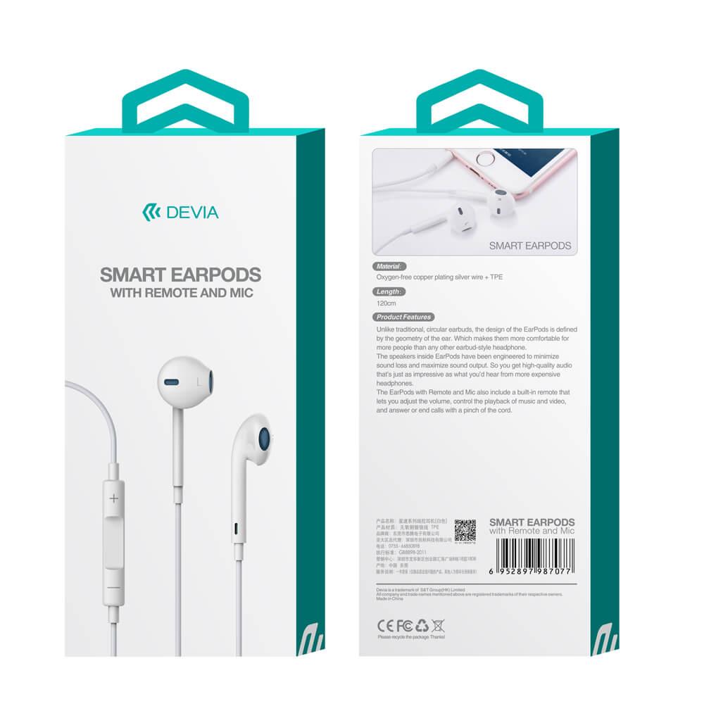 Tai nghe nhét tai Smart Earpods có Remote và Mic, cổng kết nối 3.5mm - Hàng chính hãng
