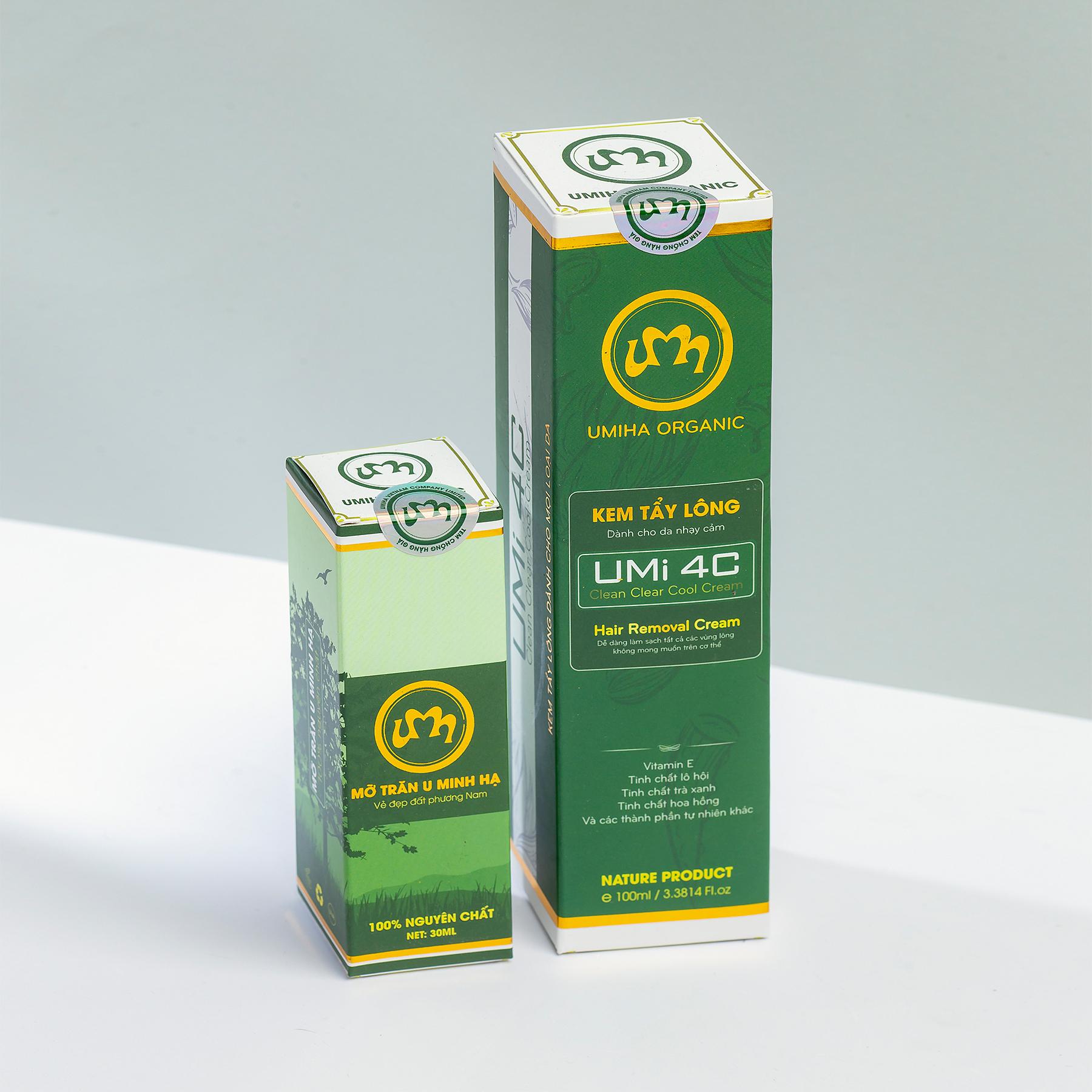 COMBO TẨY TRIỆT LÔNG CHÂN TAY VĨNH VIỄN UMISKIN tại nhà | Mỡ trăn triệt lông vĩnh viễn U Minh Hạ (30ml) & Kem tẩy lông Umi 4C (100ml) an toàn cho da nhạy cảm