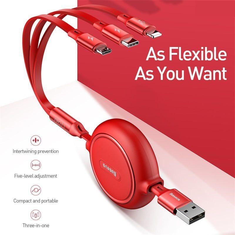 Cáp sạc đa năng Baseus 3 đầu Type C +Lightning+ Micro USB sạc nhanh 3.5A  Golden Loop 3 in 1 Elastic 3.5A 1.2M  - Hàng Chính Hãng
