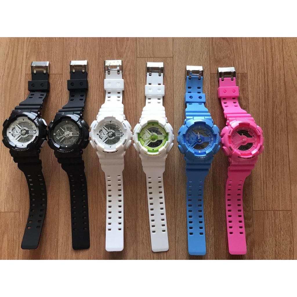Đồng hồ thời trang nam nữ Sport Watch chạy kim và điện tử cực chất K5590 - Đen Mặt Trắng