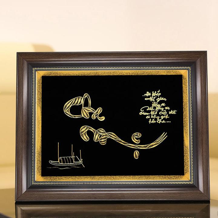 Tranh chữ Cha Mẹ thư tháp mạ vàng