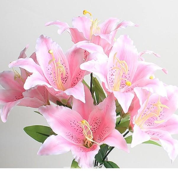 Hoa giả - bó hoa ly hồng 9 bông