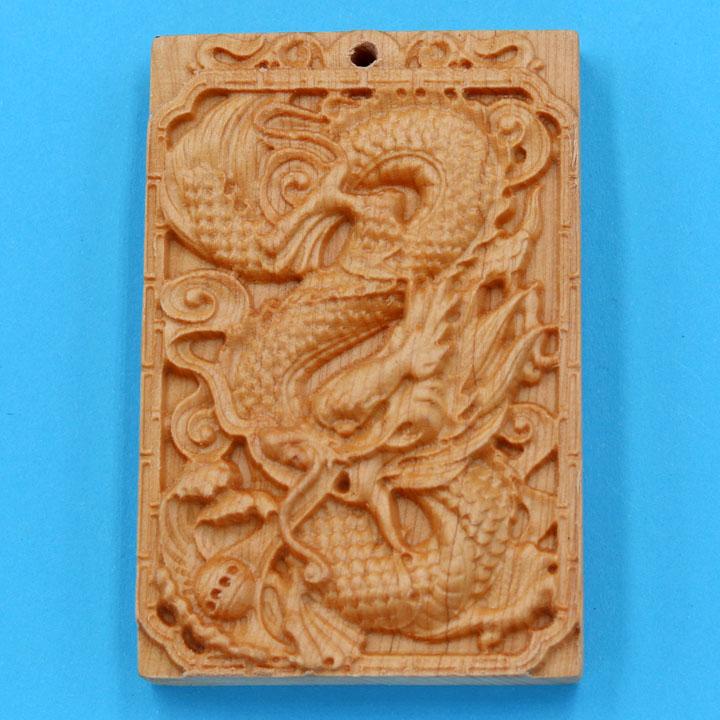 Mặt gỗ ngọc am khắc tượng Rồng MG54