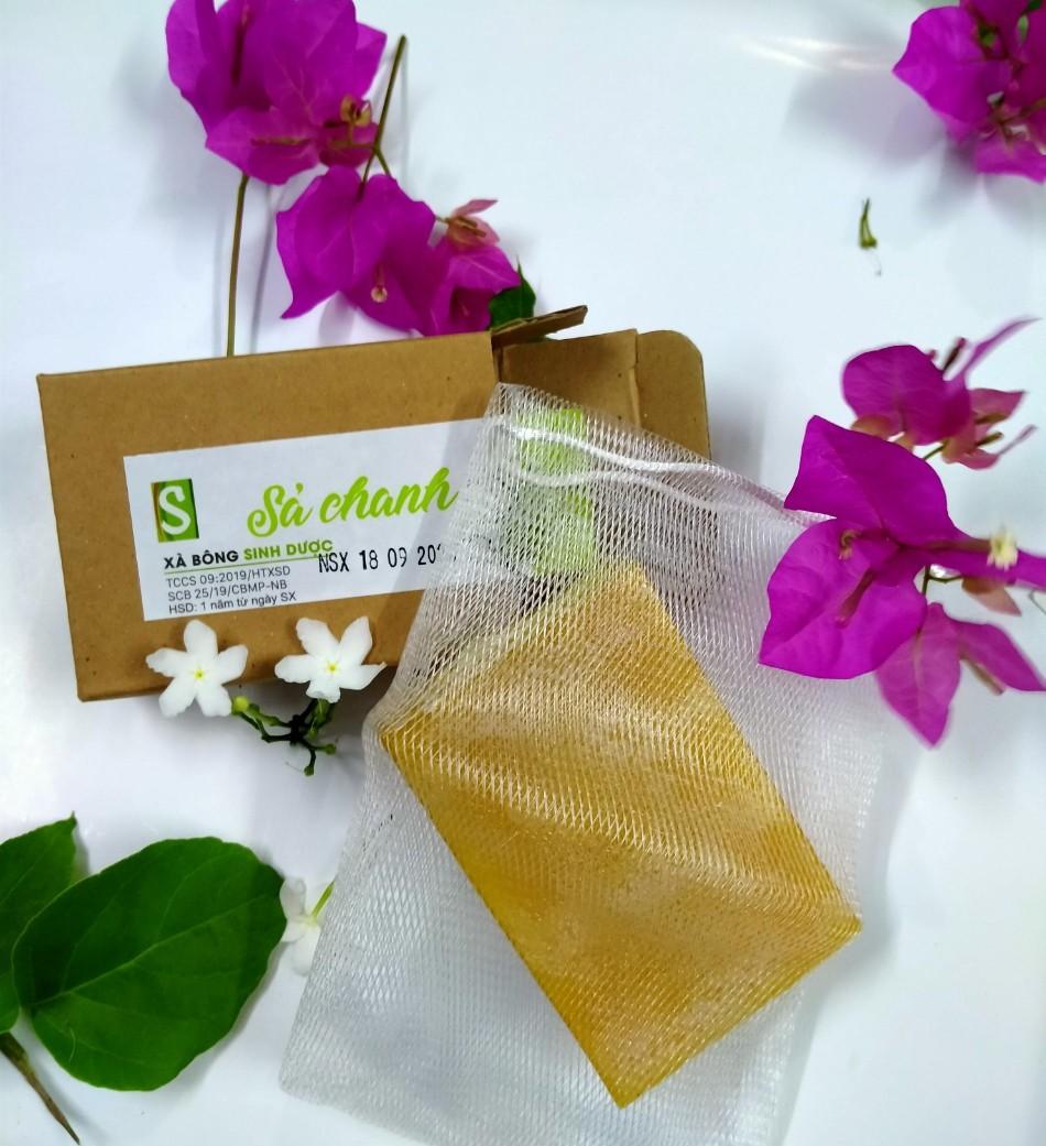 Bánh Xà bông Sinh Dược Sả chanh 100 gram thơm mát dễ chịu, tặng kèm túi lưới tạo bọt