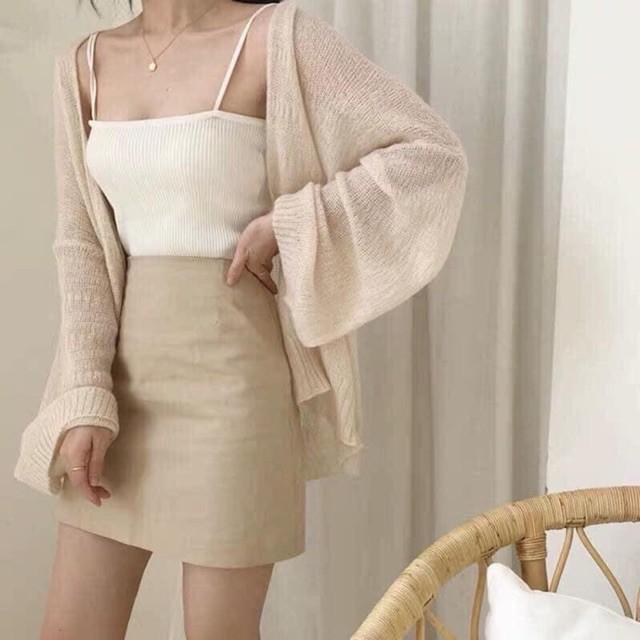Áo Cadigan - áo khoác len mỏng phong cách Hàn Quốc