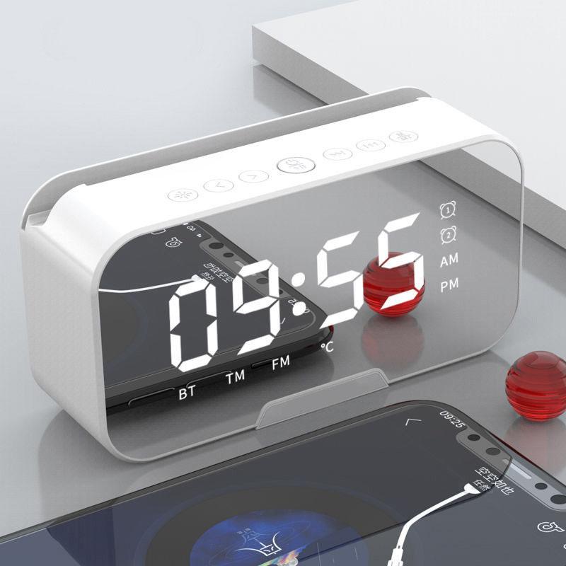 Loa Bluetooth Kèm Đồng Hồ Báo Thức, Đài FM Hỗ Trợ Thẻ Nhớ TF