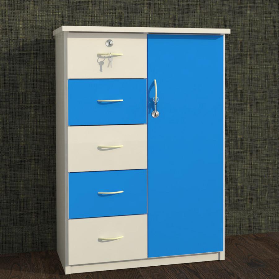 Tủ nhựa Đài Loan 1 cánh 5 ngăn T225 màu xanh dương