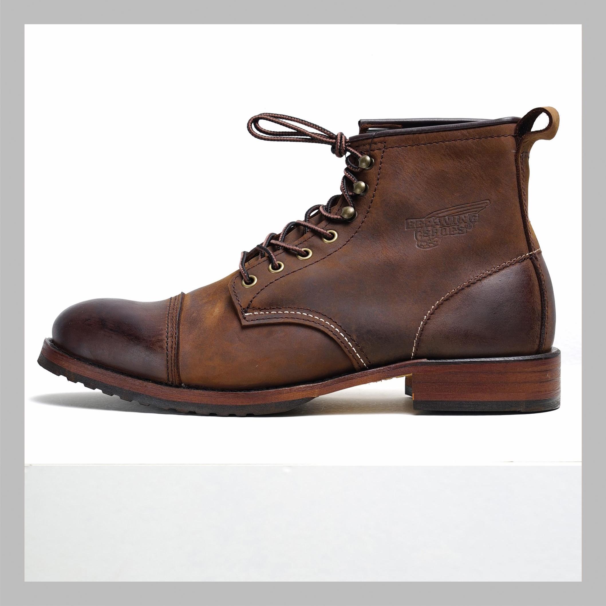 Giày Boot Nam Cao Cổ  FRYE Nâu Da Thật Mũi Tròn Đế Phíp Gỗ Chắc Chắn Phong Cách Đường Phố Biker Bảo Hành 1 Năm