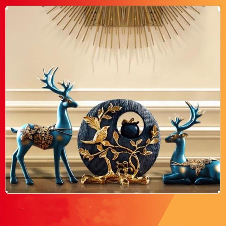 Bộ hươu xanh trang trí, tượng decor trang trí nội thất