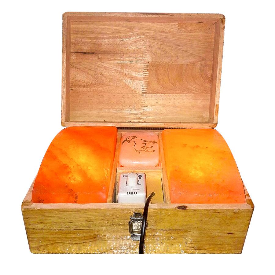 Hộp đá muối Himalayan  massage chân mặt cong 3 ngăn - TVB-HM1T2C