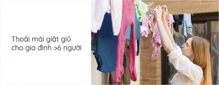 Máy giặt AQUA AQD-D1000C W, 10.0kg, Inverter Thoải mái giặt giũ cho gia đình đông người