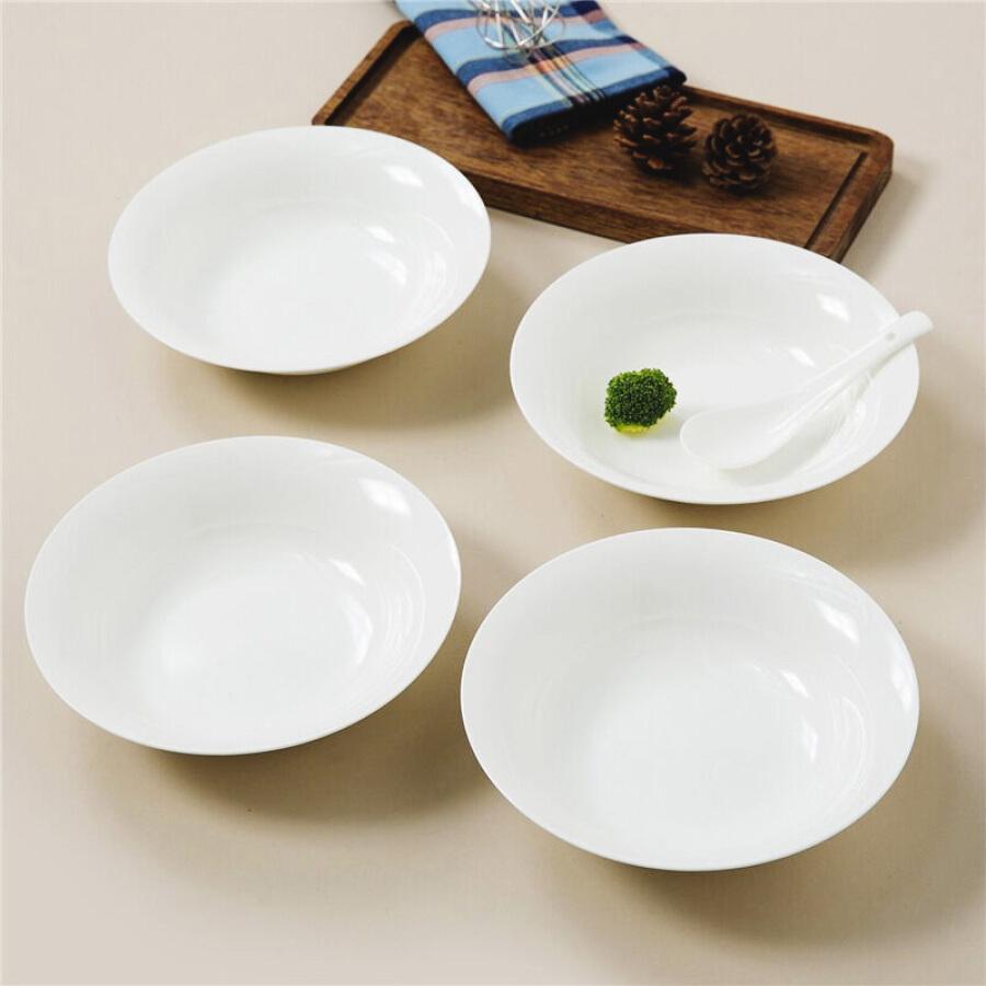 SKYTOP Sikai ceramic plate bone china tableware dish white 7.5 inch Korean 4 piece set