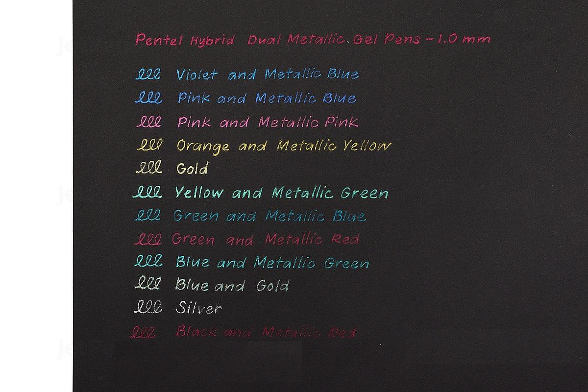 Bút gel nhũ Pentel Hybird Dual Metallic - 1.0mm - Black + Metallic Red