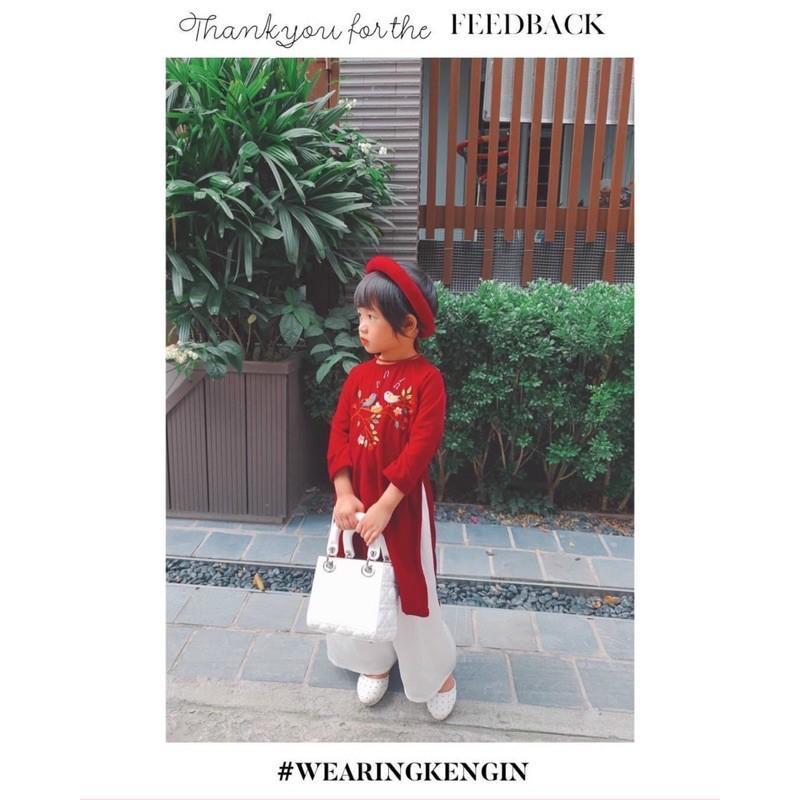 Áo dài nhung đỏ truyền thống cổ tròn kèm mấn cho bé gái 1-10Y