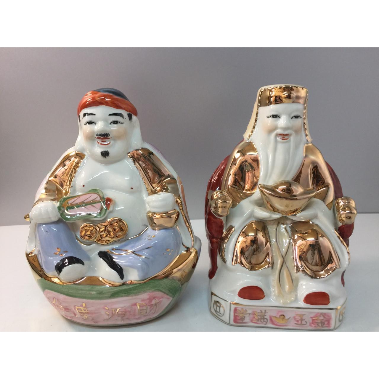 Cặp tượng Thần Tài - Thổ địa ( áo kim sứ Bát Tràng cao cấp) -  dành cho ban thần tài