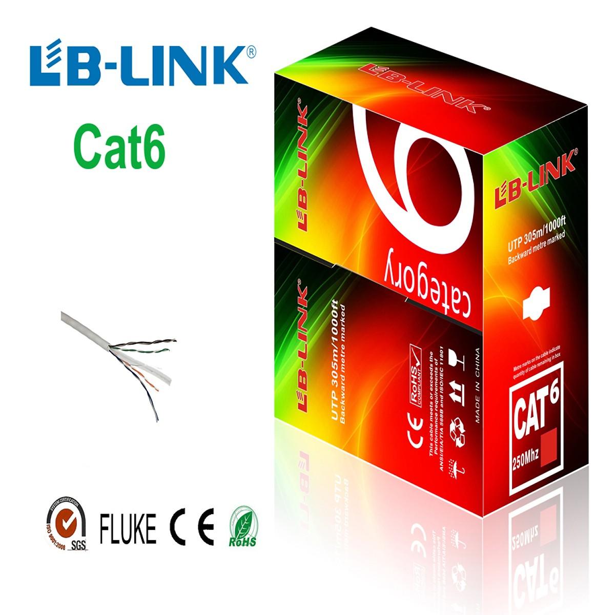 Cuộn Dây Cáp Mạng Cat 6e LB-Link 305m (Tăng kèm hộp hạt mạng 100 chiếc) - Hàng Chính Hãng
