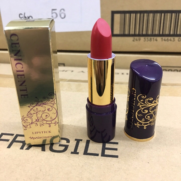 Son thỏi mịn môi lâu phai Naris Ceniciente Lipstick Nhật Bản 3g (#100: Hồng tươi) + Móc khóa