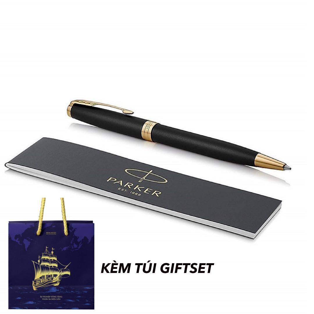Bút Ký Chính Hãng Parker Sonnet Black Gold Trim Ballpoint Kèm Túi Giftset B&J Cao Cấp Dành Cho Doanh Nhân, Khẳng Định Đẳng Cấp Cá Nhân B&J