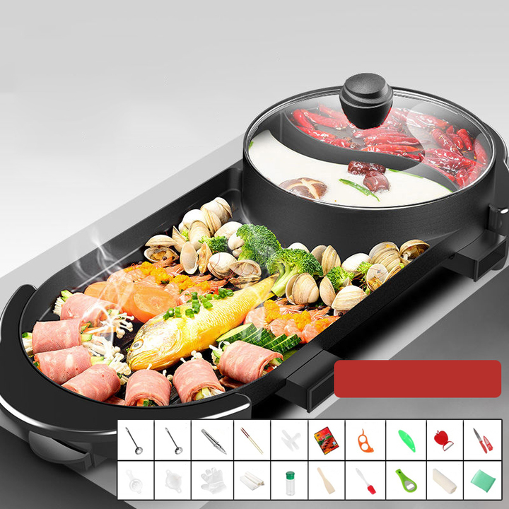 Bếp lẩu nướng đa năng 2 trong 1 chống dính 3 lớp cao cấp EB-8602 Công suất 1100 - 2200W có thể tháo rời
