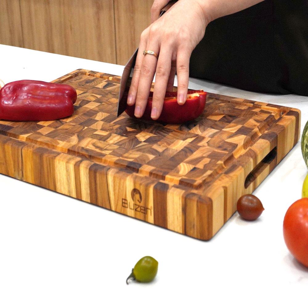 Thớt Gỗ Teak BUZEN Cao Cấp 35x25x3.8cm - Thớt gỗ Cứng Dày có rãnh chống tràn đặc biệt dùng làm khay phục vụ các món nướng BBQ
