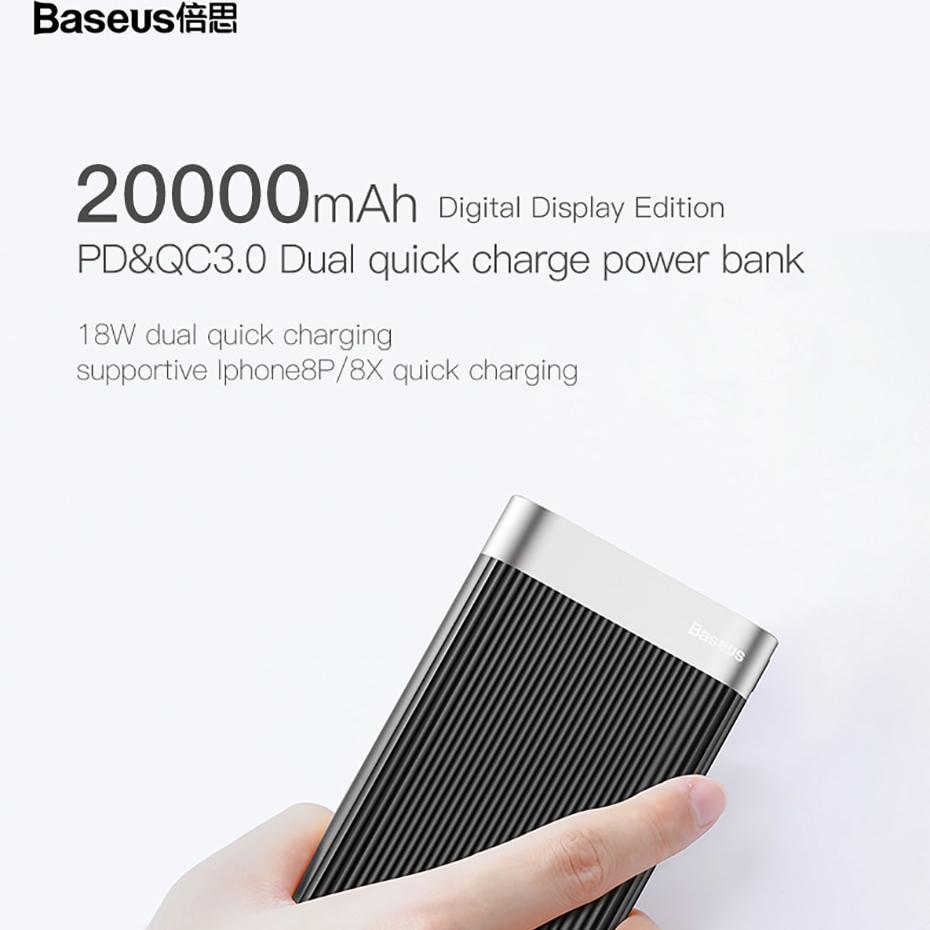 Pin dự phòng Baseus (BS-20K) cao cấp dung lượng 20000mAh sạc nhanh Qualcomm QC 3.0 có màn hình LCD báo dung lượng Pin - Hàng chính Hãng