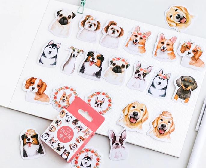 Hộp 46 Miếng Dán Sticker Trang Trí Hình Chó Dễ Thương
