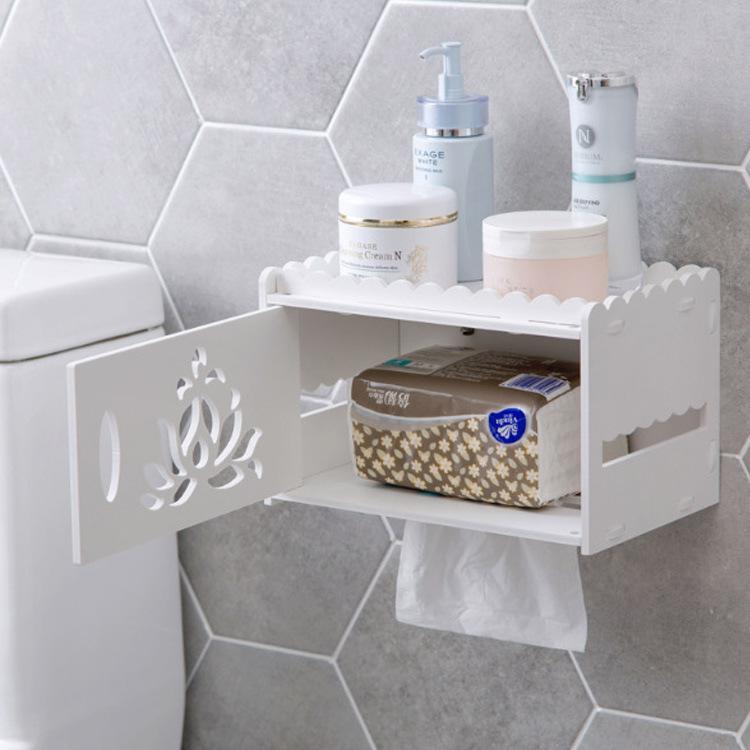 Hộp đựng giấy nhà vệ sinh có kệ đựng vật dụng