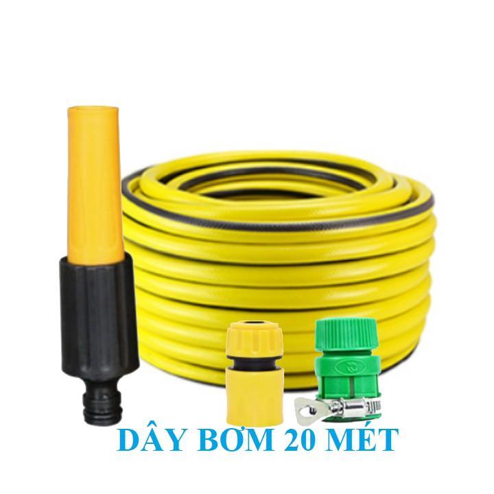 Bộ dây vòi xịt nước rửa xe, tưới cây , tăng áp 3 lần, loại 20m 206622-5 cút sập, nối vàng