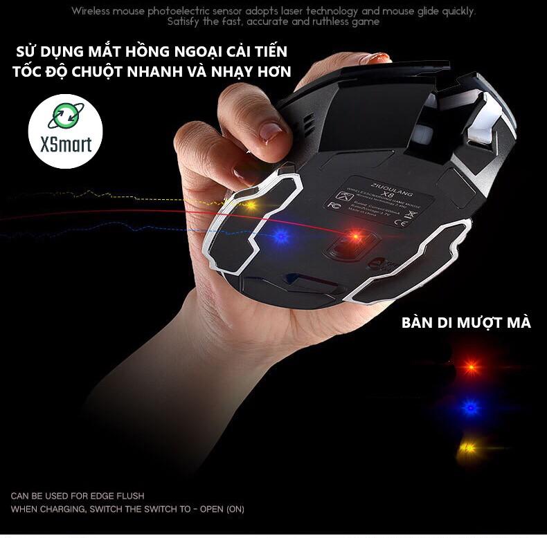 Chuột không dây chuyên GAME XSmart Wolf X8 PRO NÂNG CẤP Wireless 2.4GHz SIÊU NGẦU, Tự động đổi màu sắc - Hàng Chính Hãng