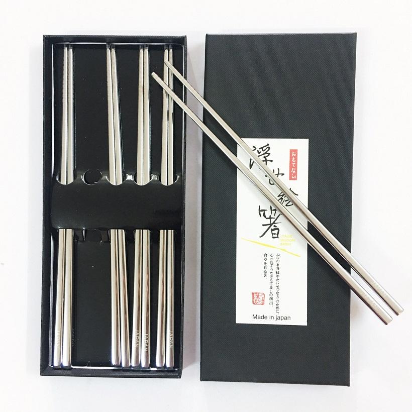 Bộ 5 đũa ăn Nhật Bản inox 304 mẫu trơn đặc ruột cầm đầm tay và rất chắc chắn