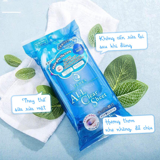 Khăn giấy tẩy trang SENKA CLEANSING SHEET - 44 sheets tặng mặt nạ giấy nén Miniso