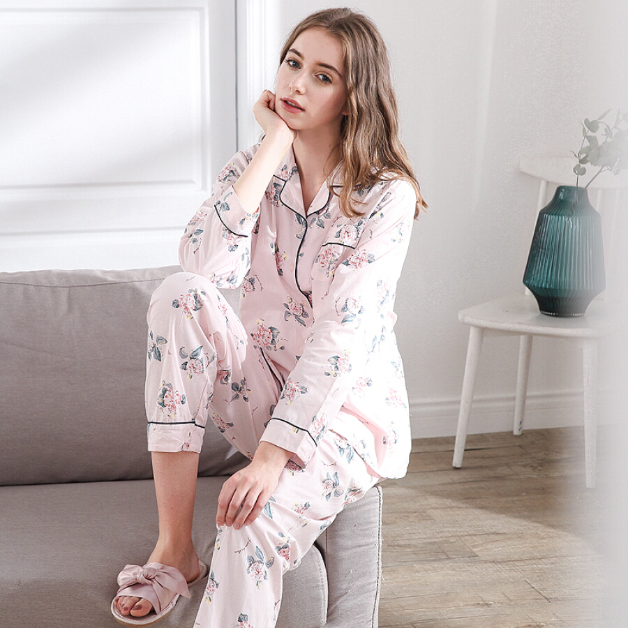 Red bean home ladies pajamas autumn cotton long-sleeved garden flowers cardigan home service suit 476 ladies pink 17596A