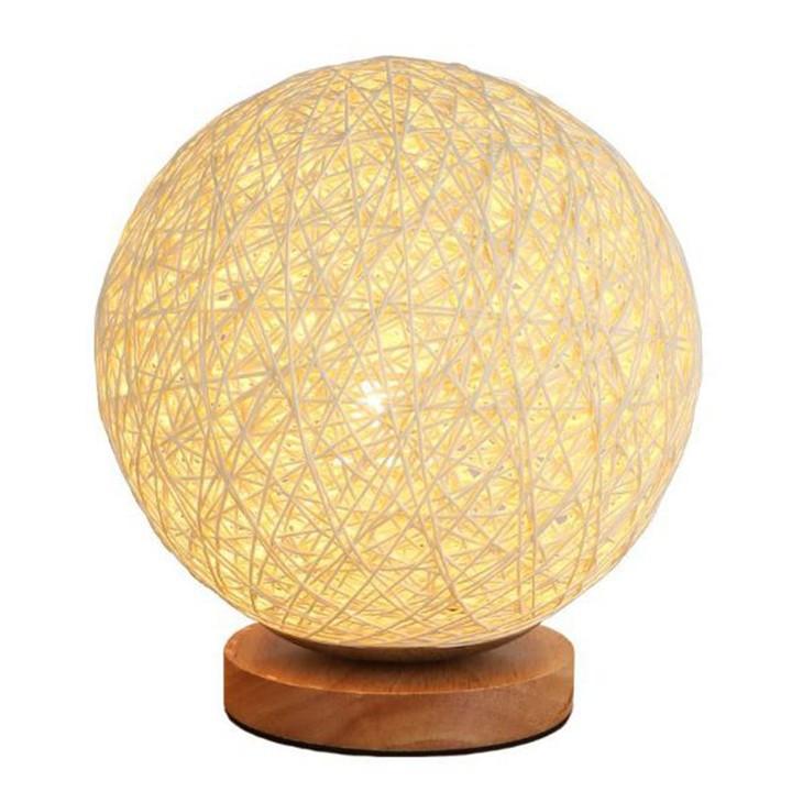 Đèn Ngủ - Đèn ngủ để bàn, đèn trang trí phòng ngủ Quả Cầu Mây Đế Gỗ Tròn Cao cấp - Điều chỉnh được độ Sáng