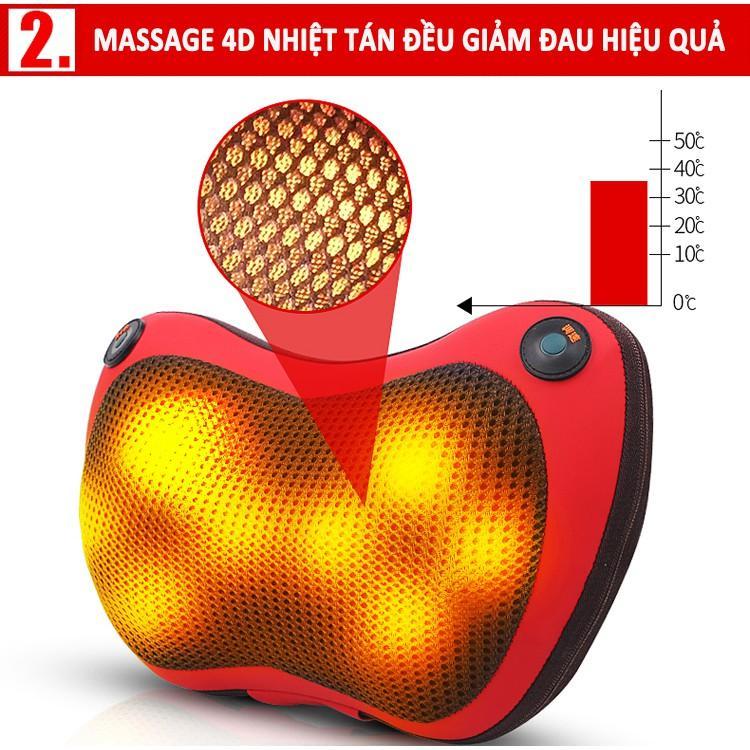 Gối massage hồng ngoại 8 bi - Hàng Chính Hãng, Công Nghệ Nhật Bản