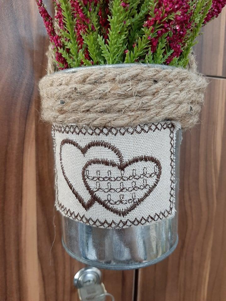 Chậu hoa lavender ( oải hương) giả nhỏ xinh vintage trang trí có quai treo