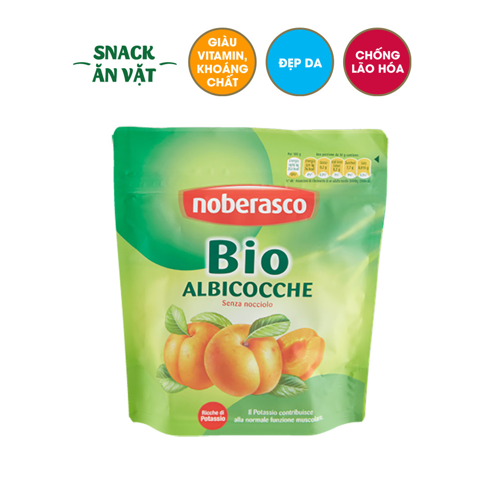 Trái mơ sấy dẻo hữu cơ Noberasco Ý gói 200g, giàu chất xơ, chống oxy hóa da, phù hợp bà bầu ăn vặt