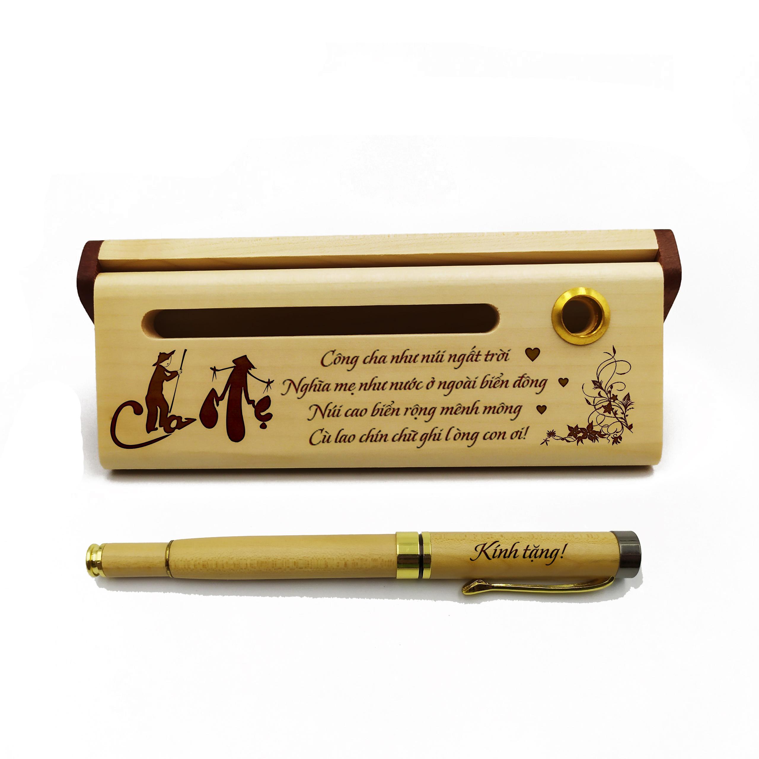Bộ bút gỗ cao cấp tặng cha mẹ_mẫu 02 (Kèm hộp đựng sang trọng)