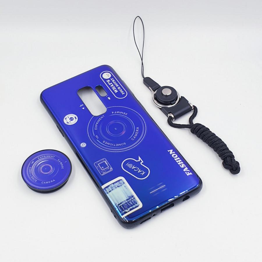 Ốp lưng hình máy ảnh kèm giá đỡ và dây đeo dành cho Samsung Galaxy S7,S7 Edge,S8,S8 Plus,S9,S9 Plus,S10,S10 Plus - Samsung Galaxy S9 Plus - Xanh