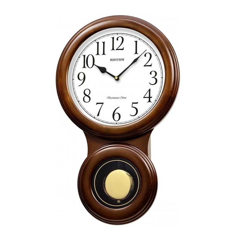 Đồng hồ treo tường RHYTHM SIP (Sound In Place) Wall Clocks CMJ575NR06 (Kích thước 32.0 x 52.0 x 10.0cm), Vỏ màu Nâu
