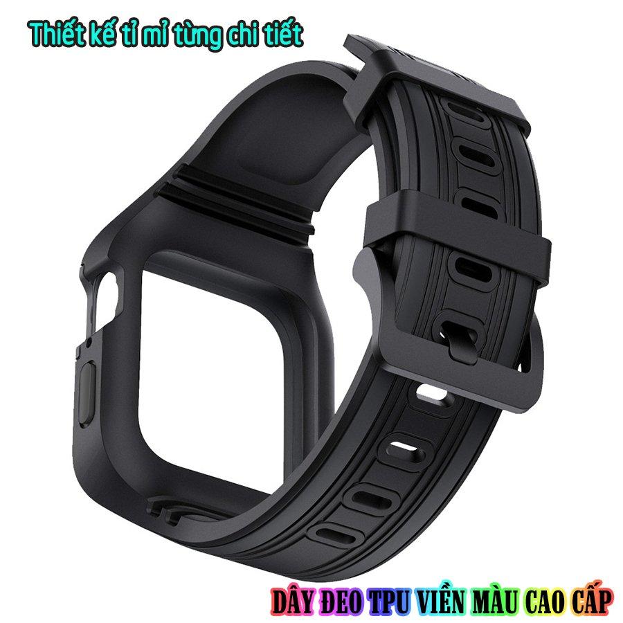 Dây Đeo liền ốp dành cho Apple Watch size 38/40/42/44mm TPU chống sốc viền màu_Đen Xám (tặng dán KCL theo size)