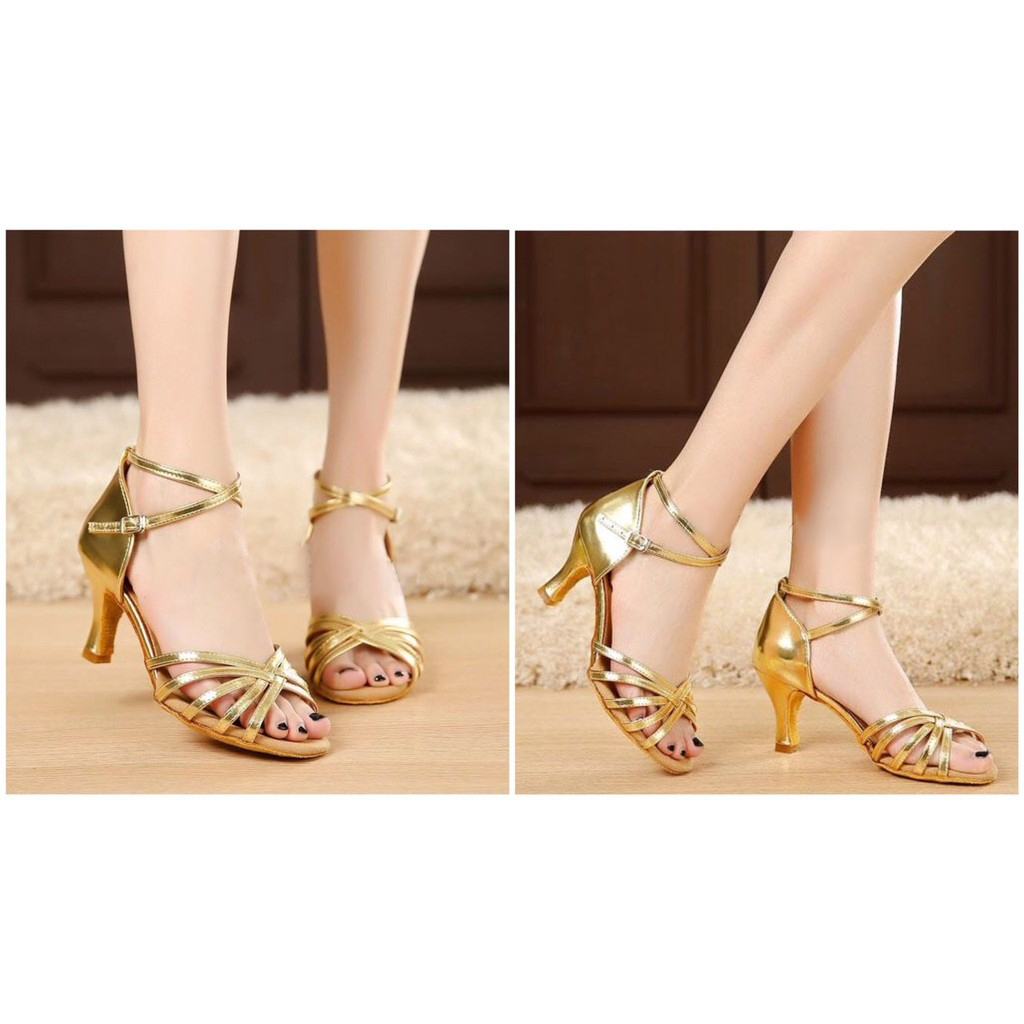 Giày khiêu vũ  màu ánh kim - gót 5p