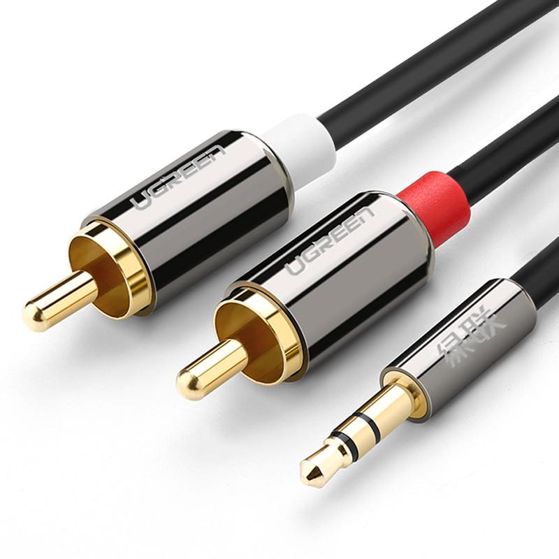 Dây Audio 3,5mm ra 2 đầu RCA (Hoa sen) dài 2M UGREEN AV116 - 10584 - Hàng chính hãng