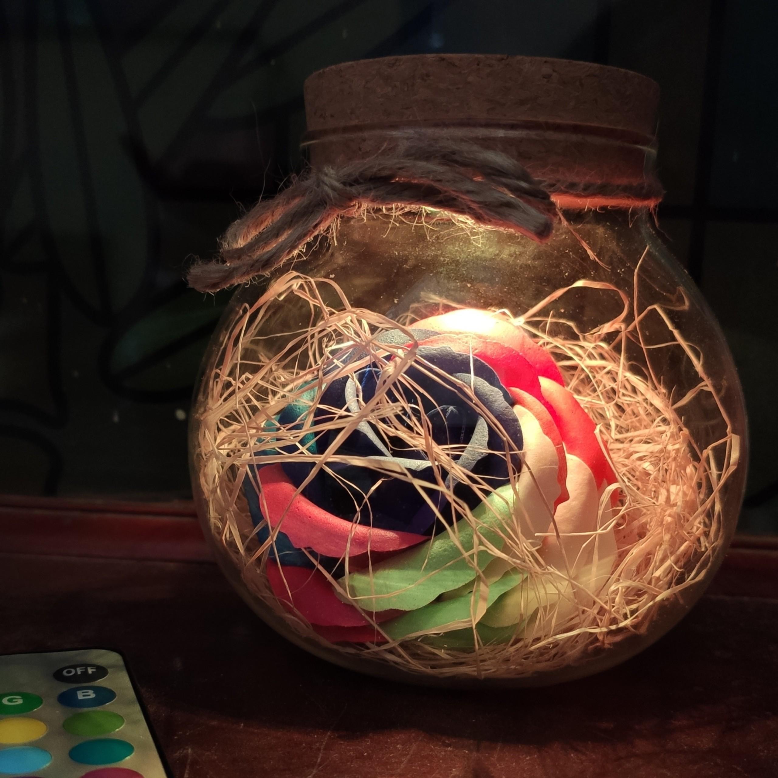 Bình Thủy Tinh Hoa Hồng 7 Màu Có Đèn Led Nhiều Màu Kèm Remote - Mẫu Ngẫu Nhiên