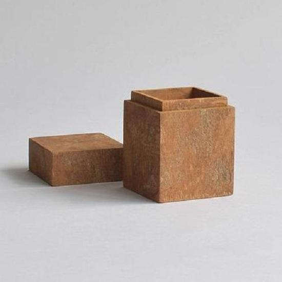 Bộ ba hộp thủ công vỏ quế hình vuông dùng đựng trà