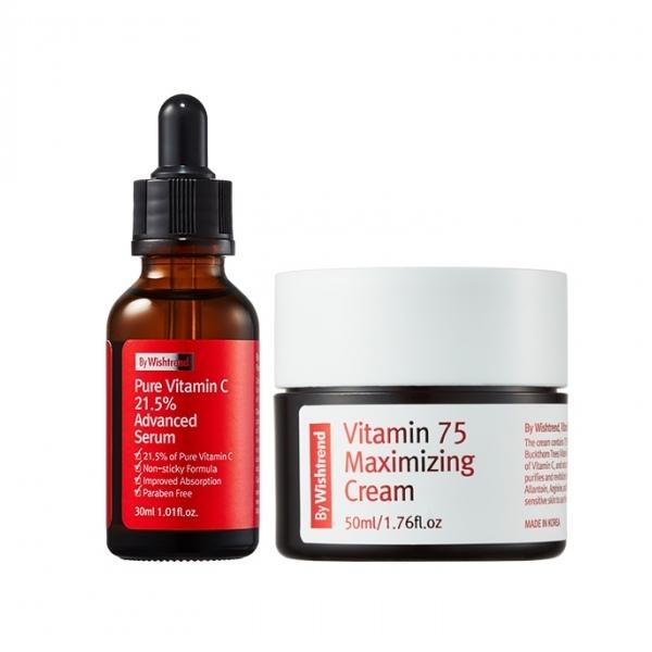 Combo Tinh chất Vitamin C 21.5 và Kem dưỡng trắng da trị mụn làm mờ vết thâm By Wishtrend