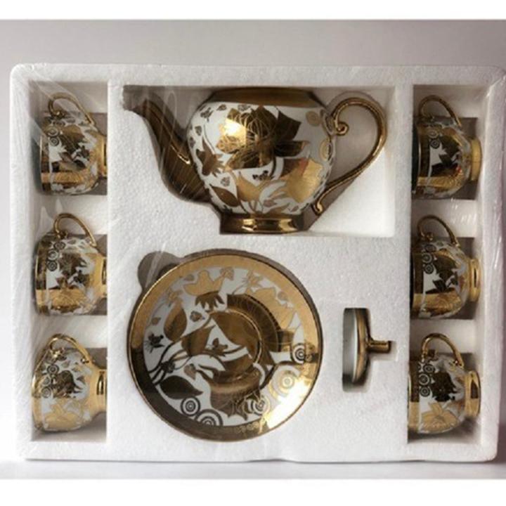 Bộ ấm trà 6 ly hoàng gia nhũ vàng