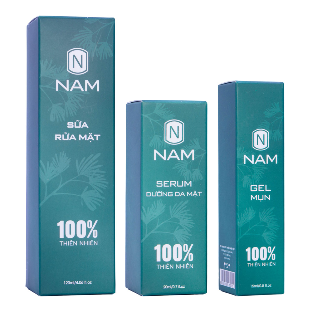 Combo Sạch Mụn Thâm Dưỡng Da Sáng Mịn NAM (Sữa Rửa Mặt 120 ml - Serum Dưỡng 20 ml - Gel Mụn 15 ml)