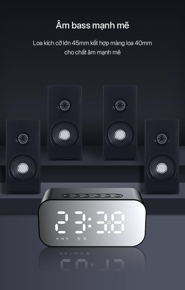 Loa Bluetooth 5.0 Kiêm Đồng Hồ Báo Thức - [[ 2 Trong 1 ]] - Robot - Hàng Chính Hãng
