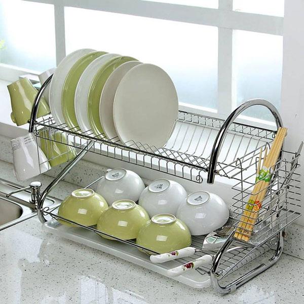 Kệ úp chén bát 2 tầng tiện dụng tiết kiệm không gian nhà bếp