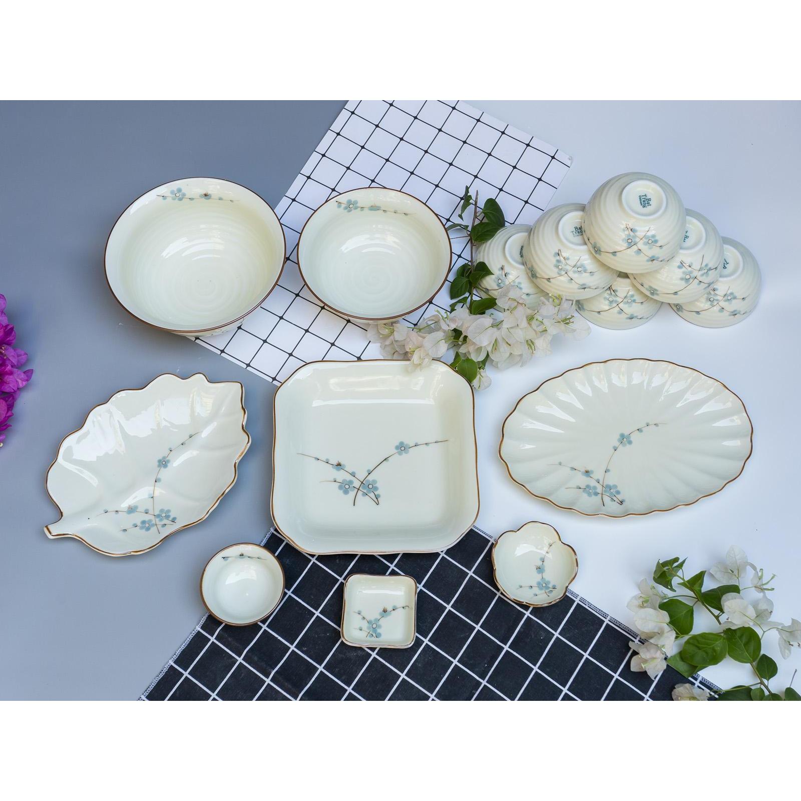 Bộ sản phẩm đồ ăn vẽ hoa sen gốm sứ Bát Tràng( 14 món)